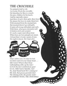 """""""Crocky Wock the Crocodile."""" Illustration used to accompany the Roald Dahl poem as part of a University project. Cut paper and Photoshop."""