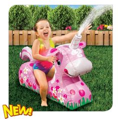For ages 18m+. Stay cool with a magical unicorn friend. Continuous sprinkles. Attaches to any garden hose. Banzai has the BEST SUMMER Backyard Toys for you to play and get SOAKED! #FunYourself!