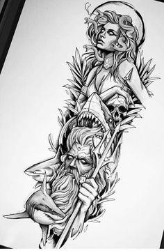 Best Sleeve Tattoos, Tattoo Sleeve Designs, Tattoo Designs Men, Leg Tattoos, Body Art Tattoos, Tattoos For Guys, Quarter Sleeve Tattoos, Tattos, Medusa Tattoo Design