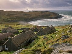 Folks find the Hebrides too cold (that's what the Scotch is for) and too remote (that's what the Scotsmen are for); for me it was just right. Wanderlust, Outer Hebrides, Scottish Islands, Scenery Wallpaper, Scotland Travel, Scotland Map, British Isles, Black House, Places To See