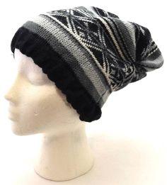 Hiver Mudd Femme Bonnet Souple Gris Blanches Noires Nordique Fair Isle Tricot #ChapeauBonnetEmpot