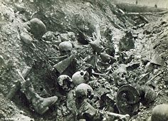 Devastation and death in a WWI trench. Unknown location/date