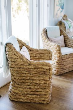 Woven accent chairs for modern coastal decor Dream Beach House Tour Day Three House of Turquoise Beach Cottage Style, Beach Cottage Decor, Coastal Cottage, Coastal Homes, Coastal Decor, Coastal Furniture, Cottage Ideas, Beach Condo Decor, Beach House Furniture