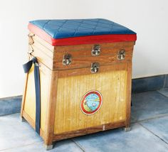 wooden fishing Stool Creel Vintage Storage Seat French home decor 1950s retro industrial cottage chic toy chest chair furniture wood