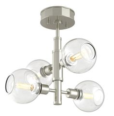 Ocean Drive Ceiling Semi Flush Light features Clear glass with a Satin Nickel finish. Four 60 watt, 120 volt T8 Candelabra base incandescent bulbs are required, but not included. 17.25 inch width x 9.25 inch height.