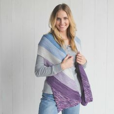 Wide, diagonal blocks of color and a notched edge make the Amaranto Scarf Kit really something special. You'll love working with Manos del Uruguay Silk Blend yarn in these peaceful wintery hues. Get the kit at interweave.com for a limited time!