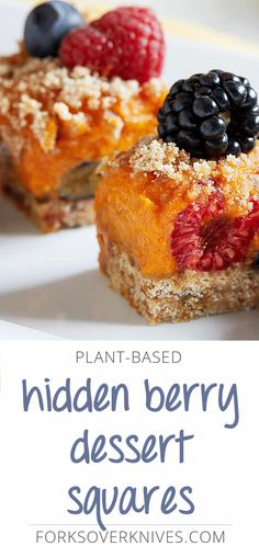 This vegan, no-bake variation on lemon bars is made with a fluffy sweet potato filling that sets over a layer of 'hidden' fresh berries. A date-sweet...