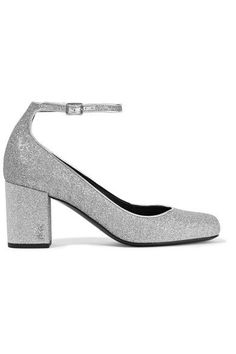 Saint Laurent - Babies Glittered Leather Pumps - Silver - IT35.5