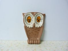 Vintage 1970's Owl Double Spoon Rest Kitschy, Kitchen,Ceramic Owl Spoon Rest Brown on Etsy, $10.00