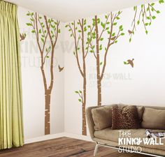 Birch Trees Forest Wall Decal , living room wall decals Wall Sticker  home decor, wall graphic - kk108