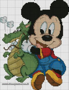 BABY MICKEY MOUSE WITH  A DRAGON - CROSS STITCH PATTERN 1/2