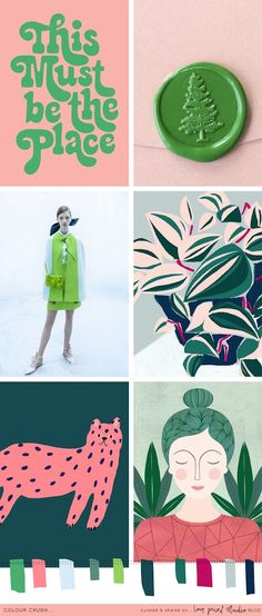 Next up in this weeks colour crush series, a beautiful spring fresh combo of bright green with khaki tones, a multitude of pink and little . Colour Pallette, Colour Schemes, Color Trends, Color Patterns, Color Combos, Bright Colour Palette, Pink And Green, Bright Green, How To Pose