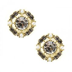 Pearl and Stone Stud  - Crystal
