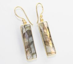 Summer Sale Gorgeous Rainbow Labradorite 24k Gold Plated Earring Jewelry D-253 #Handmade #DropDangle #CasualParty