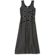 Calvin Klein Women's Maxi Striped Dress ($40) ❤ liked on Polyvore featuring dresses, calvin klein dresses, criss-cross dresses, striped dress, striped maxi dresses and stripe dresses