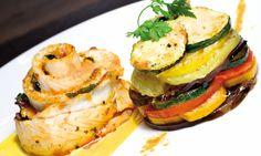 Filet de bar sauce safranée, tian de légumes – Recette Plat Facile   Bridélice