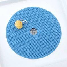 SlipX Solutions Comfort Foam Shower Mat With Center Drain Hole, Blue