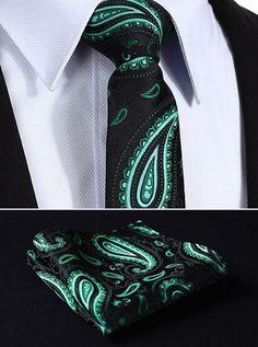 "TP902L7 Black Green Paisley 2.75"" 100%Silk Woven Slim Skinny Narrow Men Tie Necktie Handkerchief Pocket Square Suit Set"