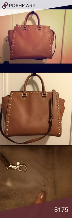 Authentic Michael Kors Studded Selma Large Great condition! The only defect is a black pen mark on the interior (pictured). I also have this bag in teal and just decided I don't need two of the same bag. Beautiful cognac color. Dustbag included. MICHAEL Michael Kors Bags Satchels