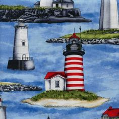 This fabric is great for quilting, sewing, and crafts. There is a link on the blue header below our logo. Fabric Crafts, Sewing Crafts, Timeless Treasures Fabric, Lighthouses, Quilts, Blue, Ebay, Garden, Clothes Crafts