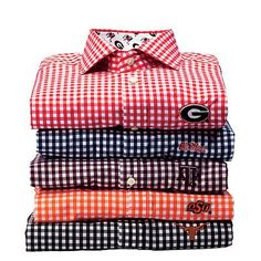 Gingham Game-Day Button-Down | Button-downs aren't just for men. These crisp, tailored dress shirts come with logos in your team colors and are a perfect tailgate outfit for both genders. | SouthernLiving.com