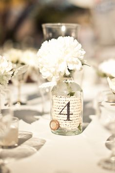 Used this idea for our wedding. Mason jars with red marbles on the bottom and a tea candle inside. Also, purchased decorative card stock and burnt the edges to give it a rustic look. Worked out fabulous!
