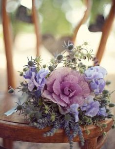 Cabbage, thistle, lavender, sweet pea bouquet photo by Love Life Studios via Style Me Pretty