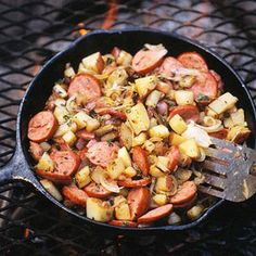 Skillet Sausage and Potatoes Cook this outdoor breakfast recipe over a campfire. It's a meal rich in protein and carbs and will fuel energy levels until it's time for lunch.
