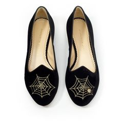 Charlotte Olympia: Charlotte's Web Smoking Slipper ($675) ❤ liked on Polyvore featuring shoes, slippers, flats and footwear
