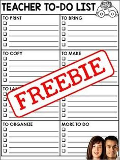FREE Teacher To-Do List - great for busy teachers!