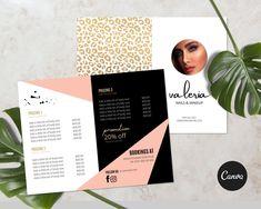 Valeria Animal Print Beauty Salon double sided bi fold brochure PRINTABLE EDITABLE TEMPLATE