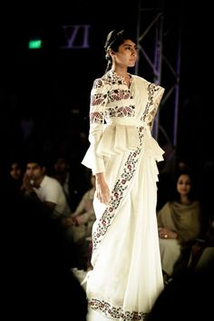 Rahul Mishra Couture 2016 For the modern day bride, elements from oldest hand techniques and artworks inspired by delicate flora of monsoons, Sari Blouse Designs, Saree Blouse Patterns, Bridal Blouse Designs, Choli Designs, Indian Fashion Trends, Indian Designer Outfits, Designer Dresses, Saree Wearing Styles, Saree Styles