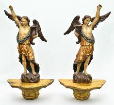 ARTE SACRA - Par de belíssimas e raras imagens barrocas, mineiras, do Séc. XVIII, representando &#34