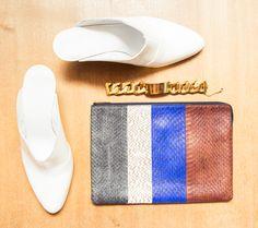 """Inside my bag you'd find my iPhone 6, makeup bag,  handkerchief, wallet, house keys and medicine."" http://www.thecoveteur.com/mug-gvgv-clothing-designer-tokyo/"