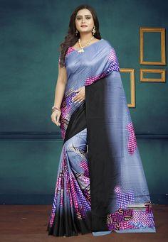 Sky Blue Silk Printed Saree With Blouse 189927 Art Silk Sarees, Silk Sarees Online, Designer Sarees Collection, Saree Collection, Back Neck Designs, Blue Saree, Blue Fabric, Silk Fabric, Indian Beauty Saree