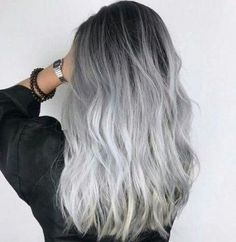 We've gathered our favorite ideas for Loving This Hair Color Hair Hair Long Hair Styles, Explore our list of popular images of Loving This Hair Color Hair Hair Long Hair Styles in grey ombre hair color. Ombre Hair Color, Hair Color Balayage, Cool Hair Color, Hair Colors, Gray Ombre, Black To Silver Ombre, Silver Ombre Hair, Ash Gray Balayage, Black To Grey Ombre Hair