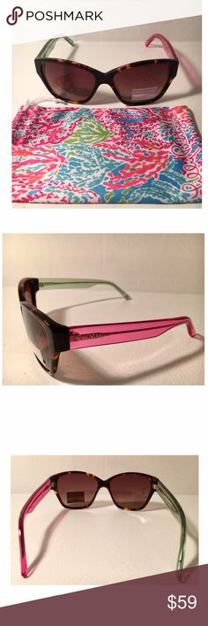 NWT Lily Pulitzer Cat Eye Sunglasses Details: Frame shape: cat-eye, frame color: dark tortoise, lens color: brown gradient, plastic lenses with 100% UV protection, lens 57mm wide, bridge 16 mm wide, arms 140 mm long, Logo on right arm end, Imported. NEW with tags. 100% Authentic Lily Pulitzer item. Lilly Pulitzer Accessories Sunglasses
