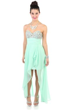 Deb Shops #mint chiffon high low long #prom #dress with stone detailed bodice