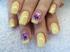 Beautiful nails 2016, Creamy nails, Long nails, Manicure by yellow dress, Nail designs with purple, Orchid nails, Pale yellow nails, Pastel nails