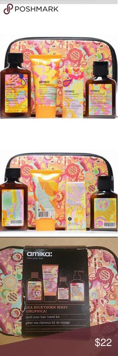 Amika Birchbox LE love your hair kit Brand new hard to find limited edition Amika love your hair spoil your hair travel kit contains  ?oil treatment  ?color pH Perfection shampoo  ?nourishing hair mask  ?leave-in hair cream  all in a cute hippie travel pouch this was from Birchbox amika Makeup