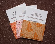 Fabric pouches for wedding invitations, not my colors but love the idea!