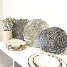 cheese platters plates vases _____________________________ #urban_pottery #slowmade #foryoureyesonly #stoneware #ceramics #ceramicplates #handbuiltceramics #sgraffito #monochrome #homegoods #instapottery #housewares #pottery #handcrafted #ceramicart #interiordesign #interiorlovers #madeingreece #contemporaryceramics #pottersofinstagram #functionalceramics #potteryforall #handmadepottery
