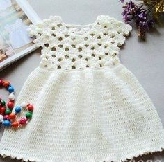 Cute crochet white dress ♥️LCK-MRS♥️ with diagrams.