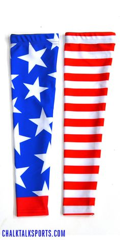 Awesome patriotic runner arm sleeves for running on the 4th of July! Only from ChalkTalkSPORTS.com!
