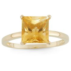 3 Tcw Tiara Princess-cut Citrine Ring in 10k Yellow Gold - (9), Women's