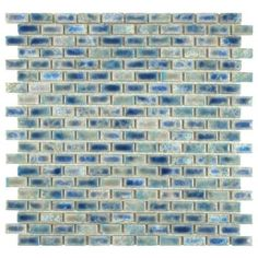 Merola Tile Rustica Subway Neptune Blue 11-3/4 in. x 11-3/4 in. x 6 mm Glazed Porcelain Mosaic Floor and Wall Tile-FCP51RNP at The Home Depo...