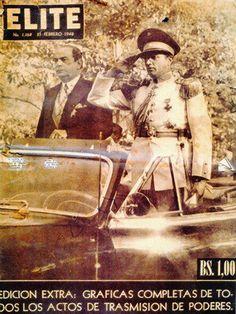 Portada de la revista ELITE donde aparecen El presidente Romulo Gallegos y el Tte.Crnel Carlos Delgado Chalbaud 1948