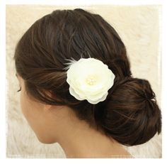 Single Small Bridal ivory hair flower with by VirginiaGeigerJewels, $24.00
