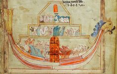 Noah and the animals have entered the ark London BL - Cotton Claudius B IV folio-14r detail Romanesque illuminated manuscript [2nd quarter of the 11th century - 2nd half of the 12th century]