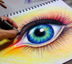 A beautiful eye drawing, quite accurate and it draws me in. And in crayon even :) I miss crayons, maybe I should try those again sometime soon. Crayon Drawings, Crayon Art, Art Drawings, Crayon Crafts, Art Visage, Wow Art, Pastel Art, Art Plastique, Teaching Art